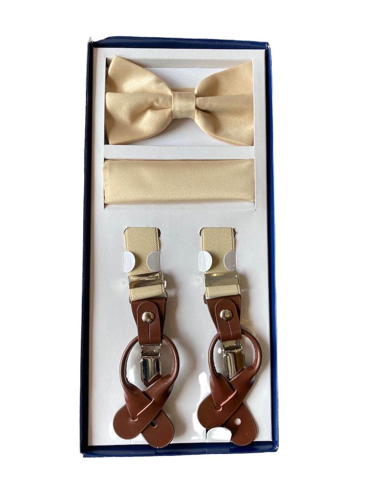 Bowtie+Hanky For Wedding Formal Events Men/'s Elastic X Band Suspenders Porto Filo Suspenders /& Bowtie Set