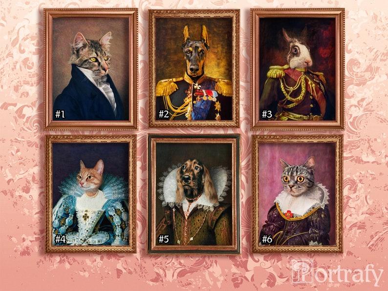 Historical Dog Animal Cat Custom Pet Portrait By Photo Renaissance Oil Painting Unique Gift Royal Pet Artwork Canvas Wrap Poster