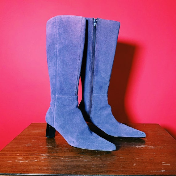 1960's Purple Suede Heeled Boots 6.5