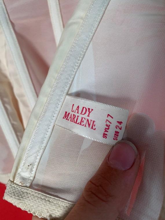 Vintage Lady Marlene White Lace Garter Belt Corset - image 5