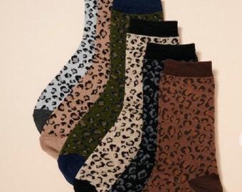 Winsummer Womens Mens Leopard Crew Socks Animal Pattern Print Fun Novelty Cotton Socks