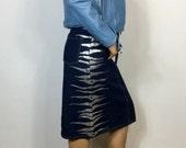 Vintage 90s Miss Selfridge indigo blue denim silver Metallic zebra print detail to the sides midi pencil skirt UK 10 12