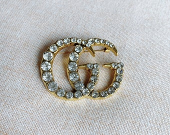 Crystal Zircon Gold Full Diamonds Chunky Brooch