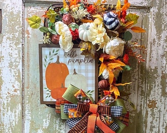 Pumpkin Fall Wreath, Rustic Tobacco Basket Wreath, Farmhouse Fall Wreath,  Pumpkin Front Door Wreath, Autumn Pumpkin Wreath, Tobacco Basket