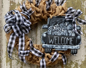 Rustic Farmhouse Burlap Buffalo Plaid Truck Welcome Front Door Wreath, Hand Painted Truck