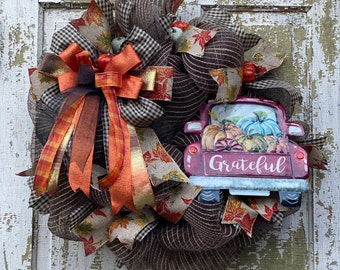 Fall Red Truck Wreath, Grateful Fall Wreath, Red Truck Wreath, Front Door Wreath, Fall Decor, Housewarming Gift, Autumn Wreath