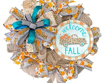 Welcome Fall Wreath, Truck Fall Wreath, Leopard Fall Wreath, Cheetah Fall Wreath, Truck Pumpkin Wreath, Housewarming Gift, Animal Print