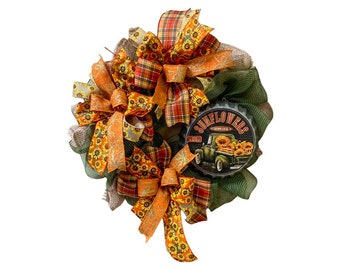 Fall Truck and Sunflower Burlap Wreath, Rustic Fall Burlap Front Door Wreath,  Sunflower Rustic Fall Wreath with Metal SIgn,