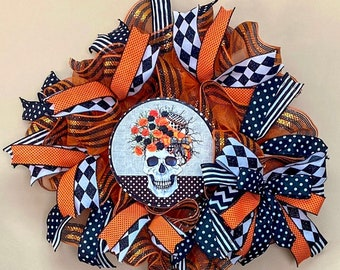 Floral Skull Black Orange Halloween Wreath, Halloween Wreath, Skull Wreath, Halloween Door Hanger, Skull Door Hanger, Black Orange Halloween