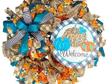Welcome Fall Wreath, Pumpkin Fall Wreath, Leopard Fall Wreath, Cheetah Fall Wreath, Teal Fall Wreath, Housewarming Gift, Autumn Wreath