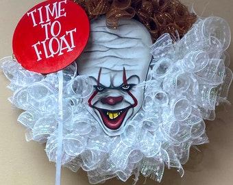 Halloween clown wreath, Halloween Wreath, Scary Clown Wreath, IT Wreath, Scary Wreath, Housewarming Gift, Horror Movie Buff Wreath, Gift