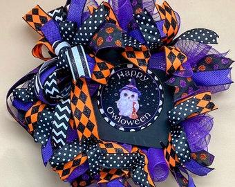 Happy Owloween Wreath, Halloween Owl Wreath, Halloween Door Hanger, Halloween Wreath, purple black orange Halloween front door wreath
