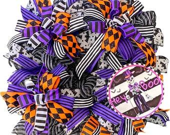 Hey Boo Skeleton Top Hat Halloween Wreath, purple orange black white colorful Halloween door hanger, front door halloween wreath, skeleton