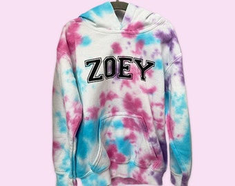 Tie Dye Hoodie/Free Personalization/ Crumple Method/ Tie dye fleece sweatshirt for Kids