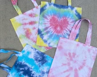Like, Tote-ly! Tie Dye Tote bag/ spiral tie dye tote bag/ heart tote bag/ party bag/ tie dye party/ tie dye birthday