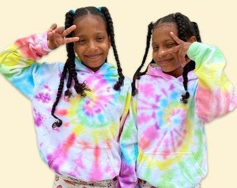 Tie Dye Hoodie/ FREE personalization/Spiral Method/ Tie dye sweatshirt for Kids/Rainbow tie dye hoodie