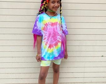 Heart Tie Dye T-shirt in Rainbow for Kids & Adults