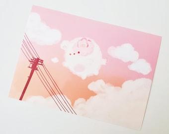 Peachy Skies Art Print, Summer Art Print, Kawaii Art, Cute Art, Cute Stickers, Kawaii Stickers, Kawaii Stationery, Journal Stickers