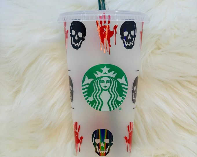 Halloween Cup Gift for Coffee lover Spooky Cup Dripping Hands Skull Reusable Starbucks Cold Cup Personalized Venti Cup for Halloween