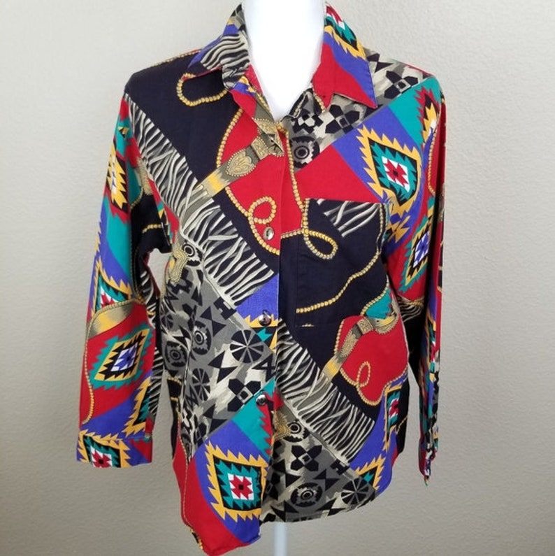 Vintage Colorful Everything Button Down Shirt Sz S