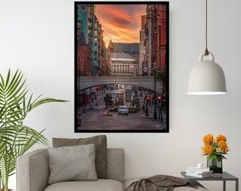 Oxford Road Print - Manchester Print - MCR Print - Manchester - Home Decor - Streets - Urban- Architecture Print - Sunset - MCR - Iconic