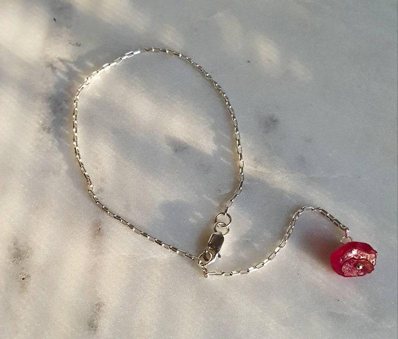 Ruby Sterling Silver Bracelet Minimalist Dainty Chain