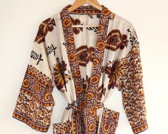 Vintage Japanese kimono ivory cream sky blue metallic gold spots polka dot oriental boudoir contemporary print boudoir boho