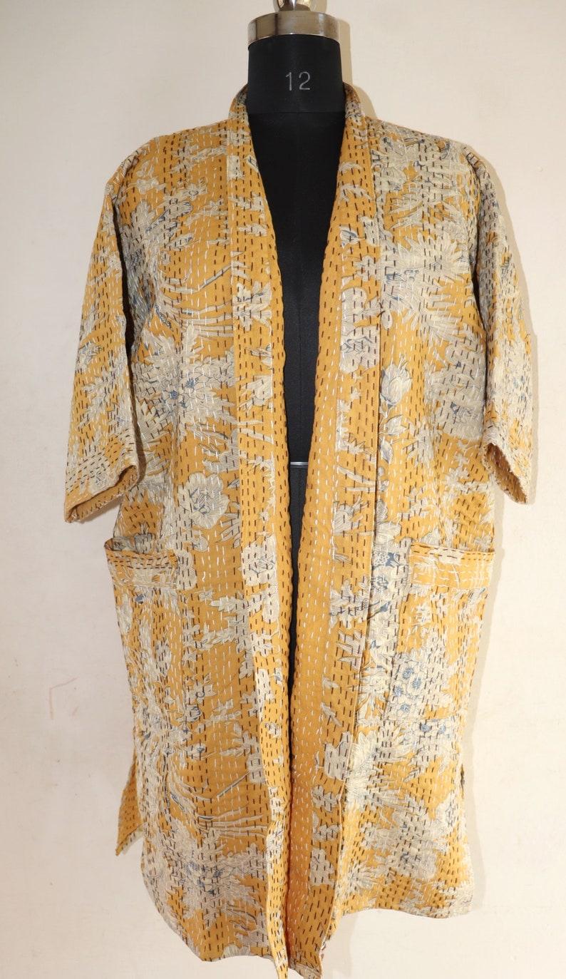 Floral handmade kantha jacket Japanese kimono style Floral kantha robe winter jacket multi colored tie belt coat Mustard
