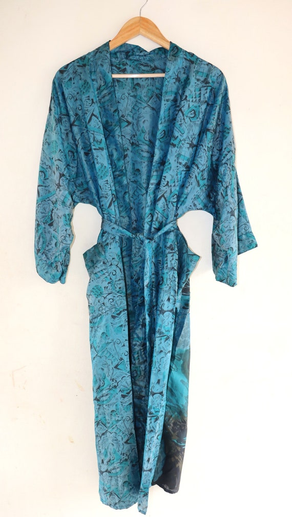Duster Jacket Kimono Beach Cover Up Dressing Gown Indian Floral Print Handmade Bath Robes,Beach kimonoBohemian Floral Beach Robe