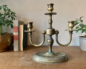 Beautiful Italian Heavy Brass Three Arm Candelabra - Brass Decor - Candle Holder - Made in Italy - Vintage Decor - Eclectic Decor - Boho -