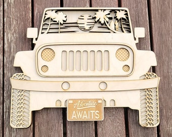 SUV WALL HANGER Beach, 5 Layers, svg/pdf/eps/dxf  Glowforge Ready, Instant Download