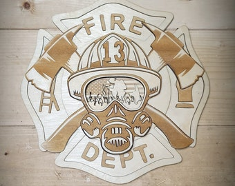 FIREFIGHTERS WALL HANGER Design, Glowforge Ready, Instant Download