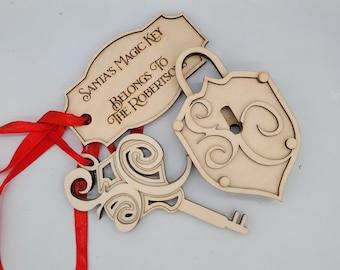 SANTA'S MAGIC WORKING lock and Key, Svg, Pdf, Instant Download, Laser Cut