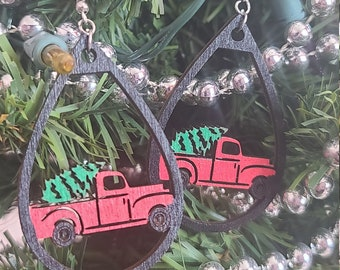 HOLIDAY TRUCK EARRINGS svg - Laser Cut Holiday Truck- Hot Chocolate Earrings Svg - Digital Download Truck