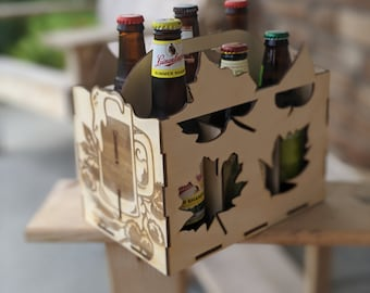 BEER CADDY SVG - Beer Bottle Box - Bar Beer Cabinet - Floral Beer Box - Instant Download Svg - Oktoberfest Beer Caddy