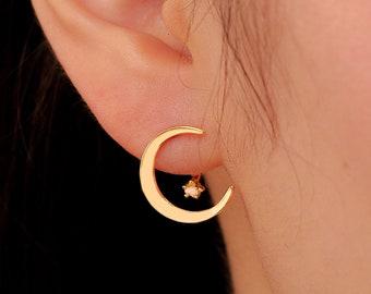 Gold Earrings Lightweight Earring Pale Moon Rising Earrings