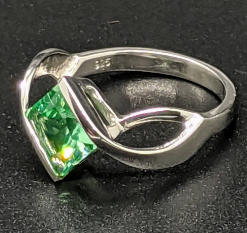 Size 7 US 3.20 CT Green Spinel Ring set in Sterling Silver