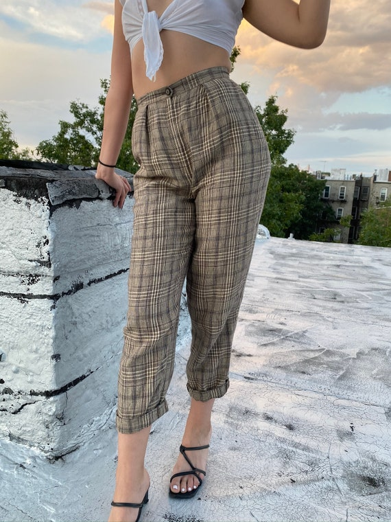 80s Pleated Plaid Linen Trousers