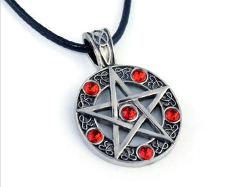 Supernatural Necklace Pentagram Pentacle Five-Pointed Star Wicca Pagan Red Jewels.