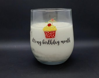 Strawberry Shortcake Scented Soy Candle/ Up-Cycled Candle / Handmade Candle / Birthday Gift / 'It's My Birthday Month' Candle / Hand Poured