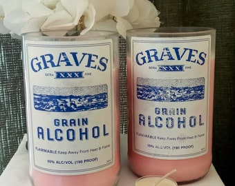 Strawberry Scented Soy Candle 20 oz / Up-Cycled Hand Cut Graves Vodka Bottle / Father's Day Gift / Handmade Candle / Hand Poured Candles