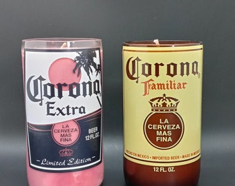 Dragon's Blood Scented  Soy Candle / Hand Cut Up-cycled Corona Candle / Beer Bottle Candle / Father's Day Gift /  Handmade Candle