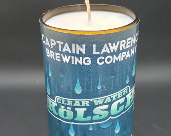 Citronella Up-cycled Scented Soy Candle / Candle Captain Lawrence Kolsch Clear Water / Handmade Candle / Hand Poured Candle / Father's Day