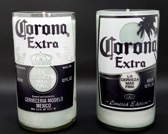 Evergreen Scented Up-Cycled Corona Soy Candle / Hand Cut Corona Bottle Candle / Beer Bottle Candle / Father's Day Gift /  Handmade Candle