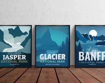 Set of 1,2,3 National Parks 'Explored' Poster & Frame - Park Poster - Home Decor - Canada Park - Gift - Wall Art - Labor Day