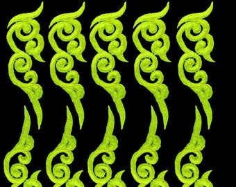 3 Pairs Neon Yellow Green Curlicue Venice Lace Appliques FREE SHIPPING