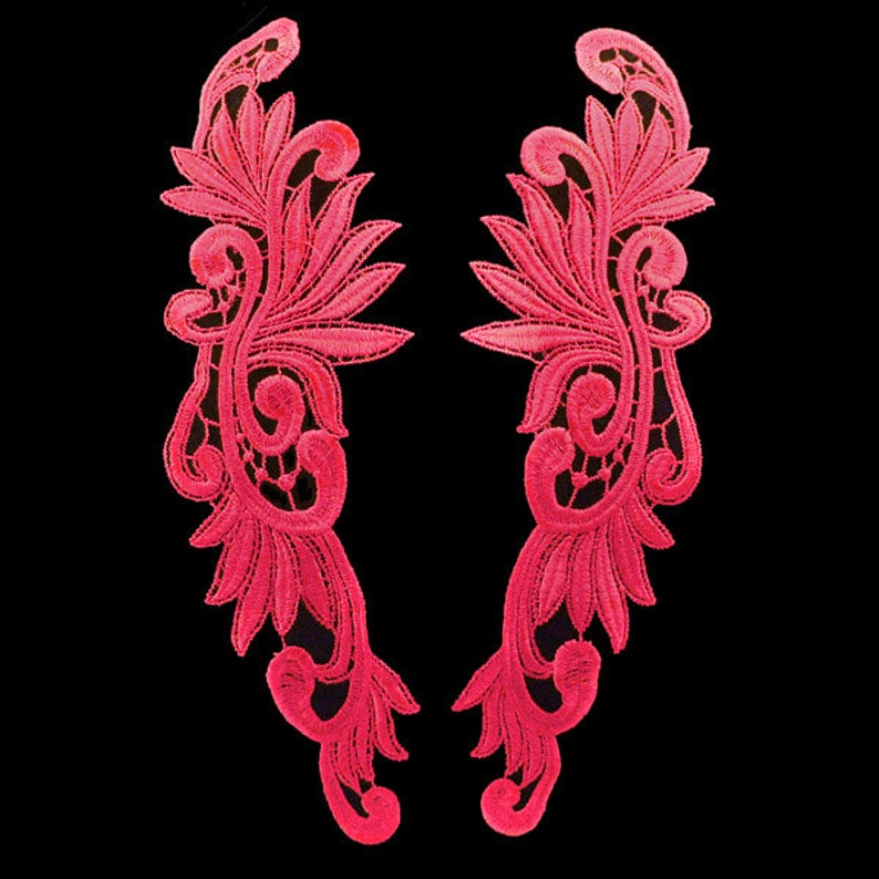 5 Pairs Hot Pink Venice Lace Appliques FREE SHIPPING