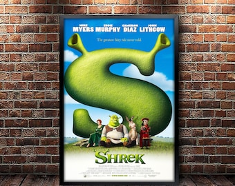 Shrek Movie Poster Framed and Ready to Hang.