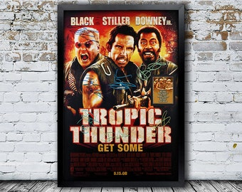 Tropic Thunder Signed   Movie Poster Framed and Ready to Hang, Collectible Memorabilia, Reprint Autographs, Signature