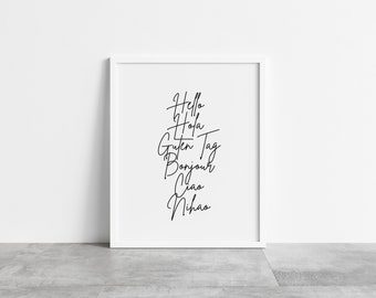 Hello Languages Black and White Typography A4 Poster Print PO362